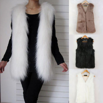 Ladies Autumn & Winter Warm Sleeveless Fake Fur V-neck Long Waistcoat Design Outwear Vest High Quality