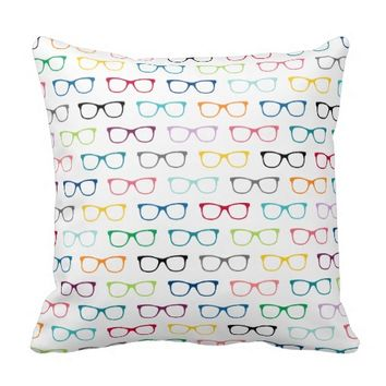 Pattern Multicolor Hipster Glasses Throw Pillow
