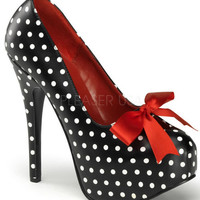 Teeze-12-2 Pinup Rockabilly Platform Pumps Heels Shoes Polka Dots