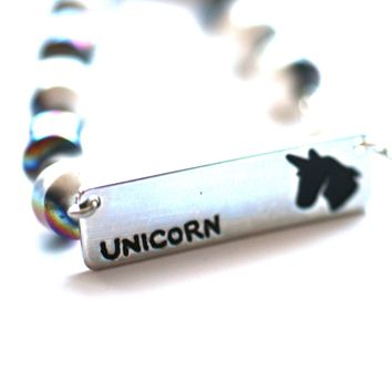 Unicorn Quote Bracelet // Inspirational Bracelet // Perfect Gift for Girl