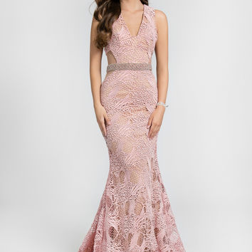 TERANI 1712P2461 Blush Lace Web Prom Dress Evening Gown