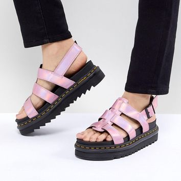 Dr Martens Yelena Sandal in Pink Metallic at asos.com