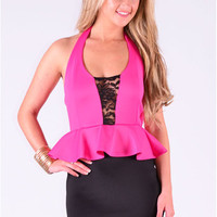 Krispin Plunge Style Mesh Insert Dress In Fuschia