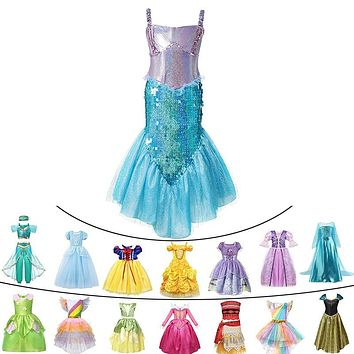 Deluxe Baby Girls Summer Princess Mermaid Cinderella Dress Tinkerbell Jasmine Halloween Elsa Cosplay Costume Child Unicorn Party 1