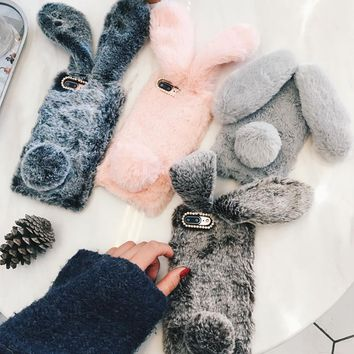 For iPhone 7 8 Xr phone case 3D Cute Rabbit Hairy Warm Fur Cover for iPhone 5S 6S Xs MAX Bling Rhinestone Plush Bunny For Girls