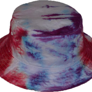 Tie-Dye Bucket Hat Blue Purple Red (onesize 22.5 inch id)
