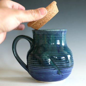 Pottery Coffee Mug with a Cork Lid, unique coffee mug, ceramic cup, handthrown mug, stoneware mug, wheel thrown mug, ceramics and pottery
