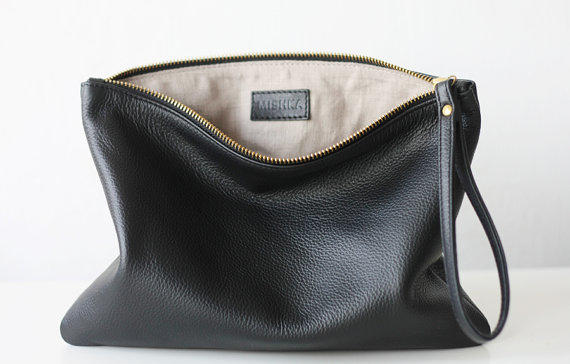 Black Leather Clutch   Oversize Leather from MISHKAbags on Etsy 487844001b