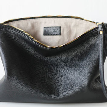 Black Leather Clutch | Oversize Leather Clutch with Wrist Strap & Linen Lining