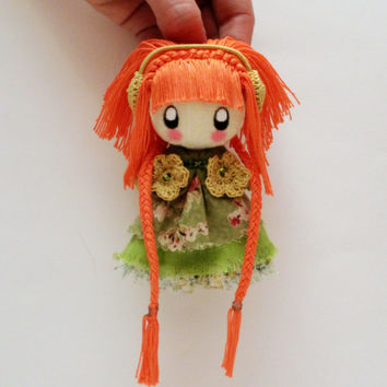 Textile brooch Zooye orange and green brooch doll for girl