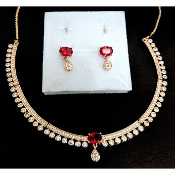 Rose gold polished CZ stone simple choker necklace and earring set