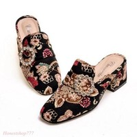 Fashion Women Floral Slippers Shoes Mid Block Heel Square Toe Mules Buckle Hot