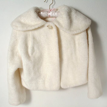 Vintage Girls Large Faux Fur Coat in from PattyMora on Etsy