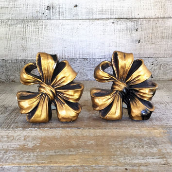 Bookends Vintage Bow Bookends Chalkware Bookends Hollywood Regency Bookends Gold Bookends Bow Shaped Door Stop Mid Century Office Decor