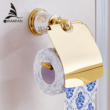 Shipping Golden Brass Bathroom Wall Mounted Toilet Paper Holder Tissue Holder W/ Cover 87307