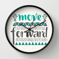 Move Forward Wall Clock by Pom Graphic Design | Society6