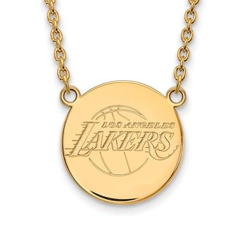 NBA 14k Gold Plated Silver Los Angeles Lakers Lg Disc Necklace, 18in
