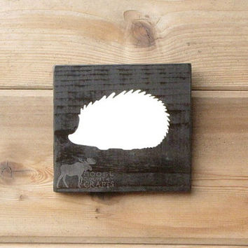 Wood Hedgehog Wall Art - 6x6 pine,rustic nursery,rustic decor,stained wood, woodland, forest,kids room,shabby chic, babyshower gift