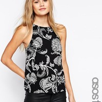 ASOS Tall | ASOS TALL Racer Front Cami Top in Paisley Print at ASOS