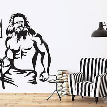 Wall Vinyl Sticker Decal Neptune King Sea Poseidon Mythology Ancient Rome Unique Gift (n300)