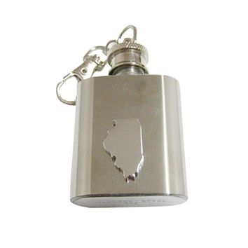 Illinois State Map Shape 1oz Keychain Flask