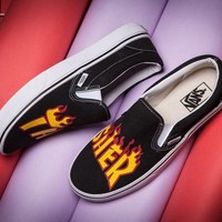 ONETOW VANS X Thrasher Slip-On Canvas Old Skool Flats Shoes Sneakers Sport Shoes