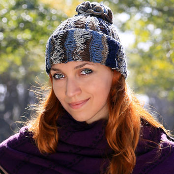 hat autumn and spring mix blue - demi-season option,  trendy not shaggy knitted pampon, a mixture of colors accentuate eyes