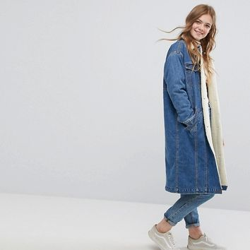 Monki Faux Shearling Longline Denim Jacket at asos.com