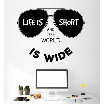 Wall Vinyl Decal Sticker Qoute Life is Short and the World is Wide Unique Gift (z4528)