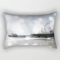 Sparkling grey Santa Monica Pier Rectangular Pillow by Christine Aka Stine1