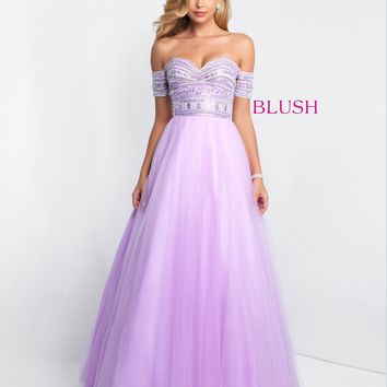 Blush 5650 Off-the-Shoulder Ball Gown- Lavender