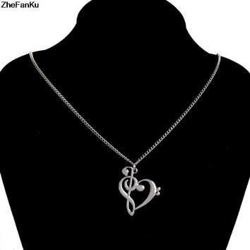 Fashion Necklace Jewelry Love Music Notes Pendant Chain Necklaces Heart Shaped Hollow Clavicle Necklace