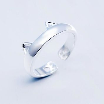 Cute Unisex Silver Cat Ear Pattern Openable Ring