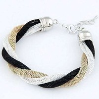 Twisted Metallic Mesh Bracelet- Black Gold & Silver