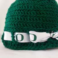 Green Oregon Duck Crochet Hat - Womens, GO Ducks! Ribbon, Adult Hat Beanie