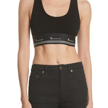 T by Alexander Wang Compact Rib Cutout Crop Top | Nordstrom