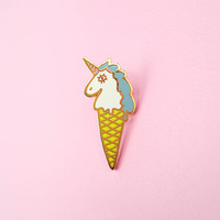 Unicone Lapel Pin - Blue/Acid Yellow