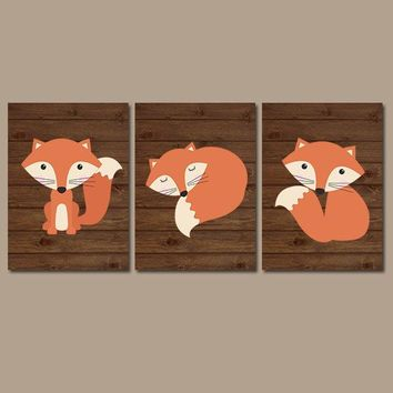 FOX Wall Art, FOX Nursery Art, Fox Decor, Woodland Nursery Decor, Wood Forest Animals, CANVAS or Prints, Fox Wood Background, Set of 3