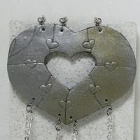 Heart Necklaces set of 7 Best Friend Bridesmaid Jewelry Heart Puzzle Necklace Set Polymer Clay Set #24