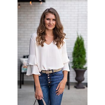 Delightful Days Flutter Sleeve Top : Off White