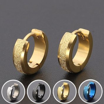 4mm*9mm Frosted Polished Punk Rock Hip Hop Unisex Earring Clip Hoop Titanium Steel