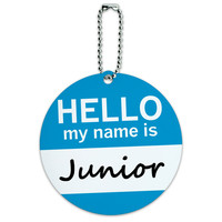 Junior Hello My Name Is Round ID Card Luggage Tag