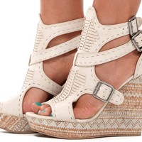 Cream Weave Front Aztec Print Wedge