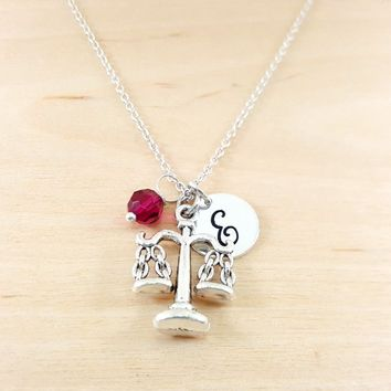 Justice Scales - Law Charm - Personalized Sterling Silver Necklace