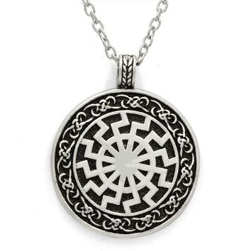 Norse Vikingm Mens Jewelry Stainless Steel Warrior Celtic Knot Pendant Rope Chain for Men