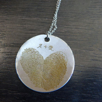 Yellow Personalized Custom Engraved Actual Fingerprint Heart Pendant Necklace, Great Birthday Gift, Chirstmas Gift, Memorial Jewelry