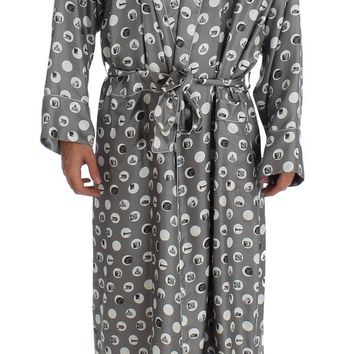 Silver Sicily Print SILK Robe Coat Nightgown