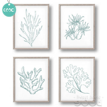 Sea Life Plant Canvas Art Print Painting Poster,  Coral Wall Pictures for Home Decoration,  Home Decor CM005