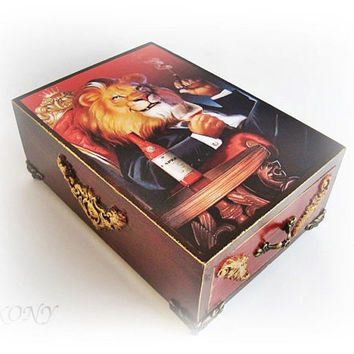 Leo box, Wooden box, Drawer, Head box, The Lion King, Box man, Storage box, Gift for boss, Present father, Gift of husband, Gift to a friend