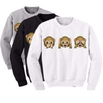 Cute Monkey Emoticon Sweater